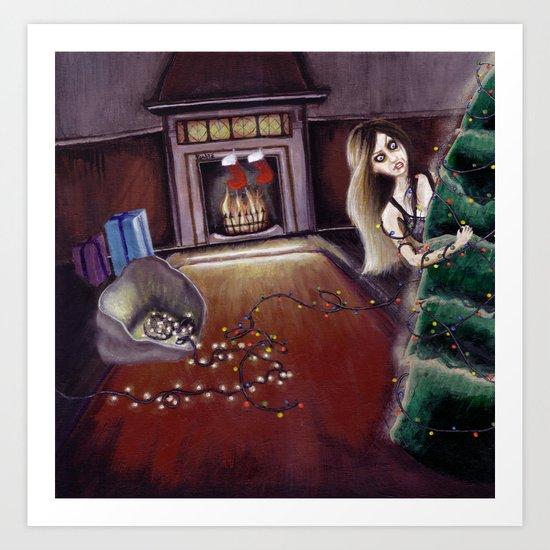BLACK XMAS: Brighten up the Christmas lights Art Print