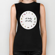 Eat slowly, eat healthy. A PSA for stressed creatives. Biker Tank
