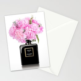 Black perfume floral 2 Stationery Cards