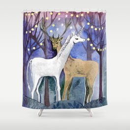 UNICORN AND  DEER IN MAGIC FORES Shower Curtain