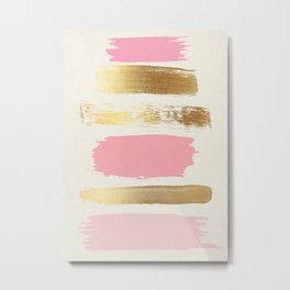 Brush Strokes (Rose/Gold) Metal Print