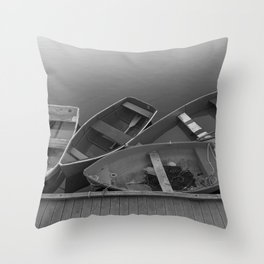 Four Skiffs B&W Throw Pillow