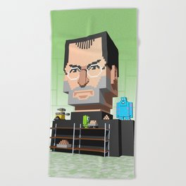 Steve Jobs 3D pixel portrait Beach Towel