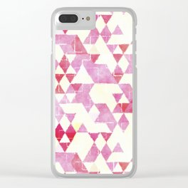 Abstract Pink Triangles, Watercolor Pattern Clear iPhone Case