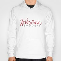 wisconsin Hoodies featuring Wisconsin Badgers  by Niki Addie Creative Design Co.