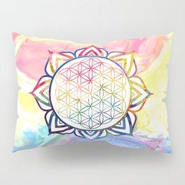 Rainbow Lotus Flower of Life Mandala Pillow Sham