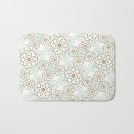 Green & Brown Floral Pattern Bath Mat