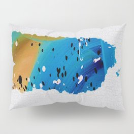 Colorful Art Puerto Rico Map Blue and Brown Pillow Sham