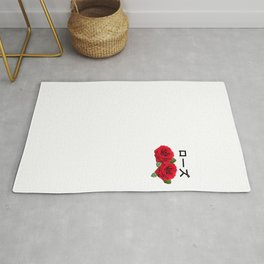 Aesthetic Rose with Japanese text Gift Vaporwave Rose Rug