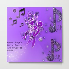 Power Purple For a Cure - The Power of Music Metal Print