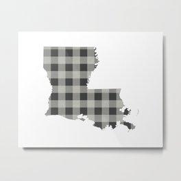 Louisiana Plaid in Gray Metal Print