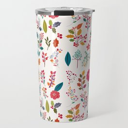 Colorful fall orange pink ivory holly berries floral Travel Mug