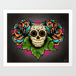 Sugar Skull and Roses - Day of the Dead Calavera Art Print