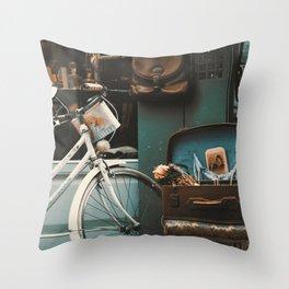 Vintage Street Scene in Istanbul Throw Pillow