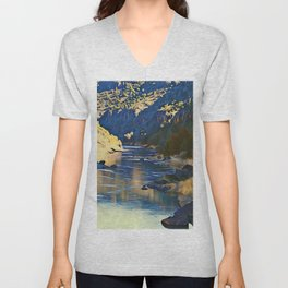 Rio Grande at the John Dunn Bridge on a Winters Day by CheyAnne Sexton Unisex V-Neck