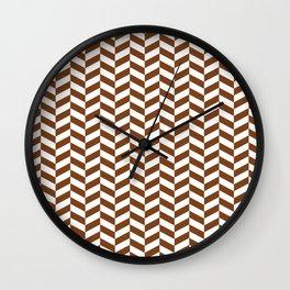 Chocolate Brown Herringbone Pattern Wall Clock