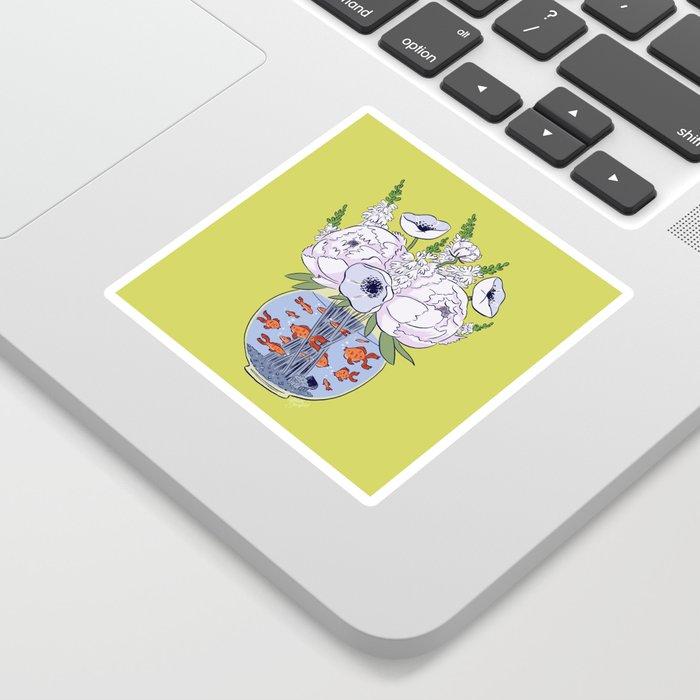 Goldfish Flowers Sticker