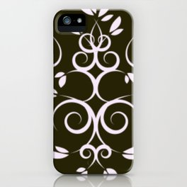 White and Light Blue Intertwining Leaves iPhone Case