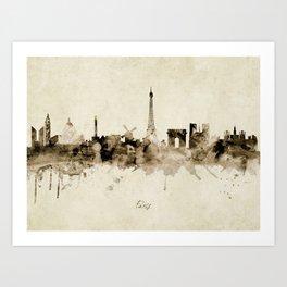 Paris France Skyline Art Print