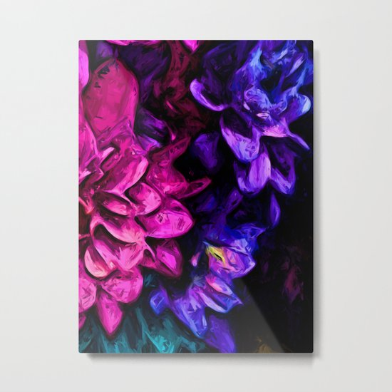 Pink Flower with Purple Flowers Metal Print