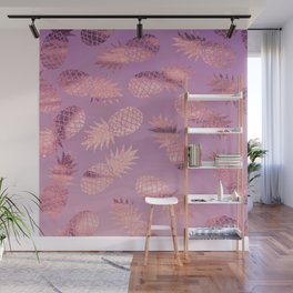 Pretty Pink & Rose Gold Pineapple Pattern Wall Mural