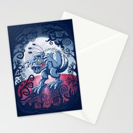 Werewolf Scratching Spooky Fleas Stationery Cards