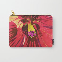 Red Hibiscus Flower Watercolor Portrait Carry-All Pouch