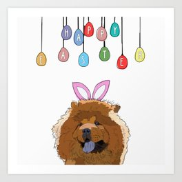 Happy Easter - Chow Chow Art Print