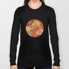 Leaves in Rosy Background 4 Long Sleeve T-shirt