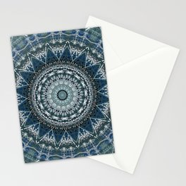 Blue Teal Madala Design Stationery Cards