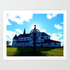 Old Church and Grave marker Art Print