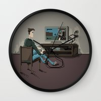 gaming Wall Clocks featuring Pixel Gaming by Steven Kaule