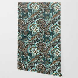 Turquoise Brown Vintage Paisley Wallpaper