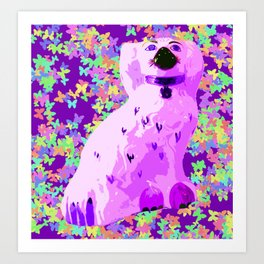 Purple vintage china dog Art Print