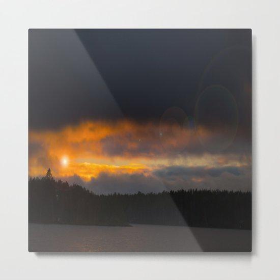 October Cloudy Sunset Metal Print