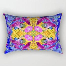 Golden Orange Blue & Fuchsia Morning Glories Garden Art Rectangular Pillow