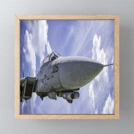 Military Fighter Jet F 14 Tomcat Flight Blue Sky Framed Mini Art Print