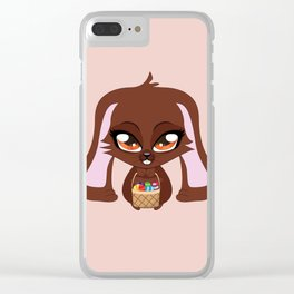 Brown Easter Bunny Clear iPhone Case