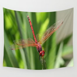 Red Skimmer or Firecracker Dragonfly Closeup Wall Tapestry