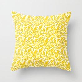 Bird and Berries Pattern Yellow Throw Pillow