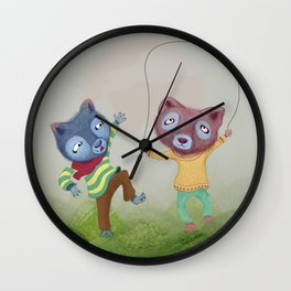 Arctic foxes at play in Lava Fields Wall Clock