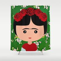 frida kahlo Shower Curtains featuring Frida Kahlo by Creo tu mundo