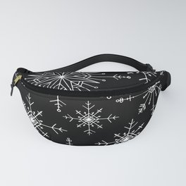 Winter Wonderland Snowflakes Black and White Fanny Pack