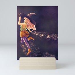 Halloween Pumpkin Witch Mini Art Print