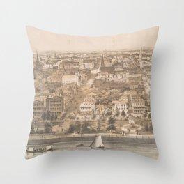 Vintage Pictorial Map of Charleston SC (1851) Throw Pillow