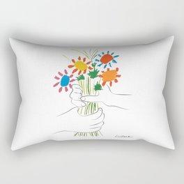 Picasso le bouquet colorful floral positive wall art, anti war print, room decor, picasso Rectangular Pillow