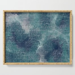 Abstract Grunge in Teal and Navy Serving Tray
