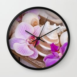 Pink Orchid and Sea Shell Maritime Still Life Wall Clock