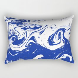 Marble blue 4 Suminagashi watercolor pattern art pisces water wave ocean minimal design Rectangular Pillow