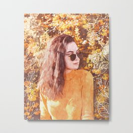Woman Fall Metal Print